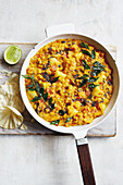 Lentil and vegetable daal with turmeric and curry leaves (vegan)