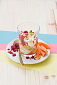 Tropical Trifle: a layered dessert with papaya, pineapple, pudding and cream