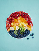 A rainbow of fresh fruit on a plate