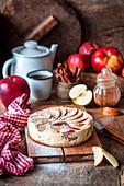 Apfel-Quark-Kuchen mit Puderzucker