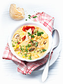 Oven soup with chicken, mushrooms and corn
