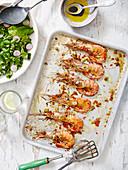 Gegrillte Garnelen mit Salat und Balsamico-Dressing