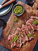 Sliced Steak with Salsa Verde