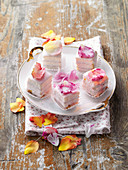 Petit fours with sugared rose petals