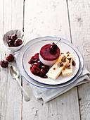 Vanilla parfait with cherry mousse