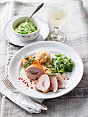 Stuffed chicken breast fillet with creamy savoy cabbage