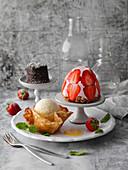 Erdbeertörtchen, Eierlikör-Parfait und Schokotörtchen