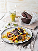 Sweet Potato salad with roast black pudding