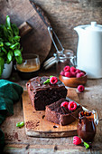 Moist chocolate cake with raspberries