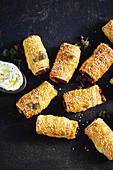 Sweet potato and feta sausage rolls