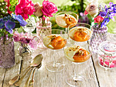 Zabaione and peach trifles