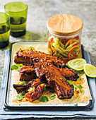 Sriracha pork ribs with pickles