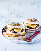 Banoffee and meringue turrets with silver beads