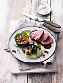 Veal fillet with freekeh risotto and a kohlrabi medley