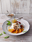 Yoghurt cream with glazed apricots