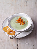 Cream of courgette soup with caramelised pears