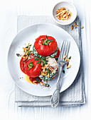 Tomatoes stuffed with spinach and mascarpone