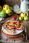 Raspberry apple pie with a pastry lattice