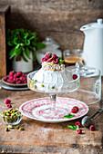 Raspberry mini Pavlova cake