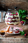 Tiramisu trifle with raspberries