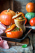 Pumpkin stuffed with meat and rice