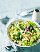 Lettuce with chicken, avocado and almonds