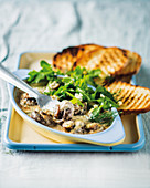 Oven-baked mushrooms with blue cheese and toasted bread