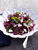 Beetroot and red cabbage salad with feta