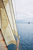 A view from the main mast of the sailing ship 'Kvartsita' from Sweden looking towards the bow, Hanse Sail, Rostock, Germany
