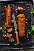 Kibbeh Mabroohmeh (stuffed cheese and bulgur rolls from Syria)