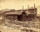 Ironworks damaged by Johnstown Flood, 1889