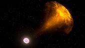 Gamma ray burst from colliding neutron stars, illustration