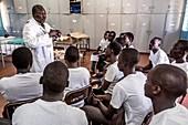Medical students studying anatomy