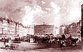 Old Market Square, Nottingham, UK, 19th Century illustration