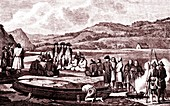La Perouse in the Far East, 19th Century illustration