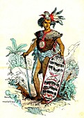 Borneo man, 19th Century illustration