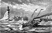 Equinox tide, 19th Century illustration