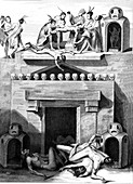 Human sacrifice, Mexico, 19th Century illustration