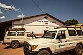 St Mary's Hospital and transport vehicles, Lacor, Uganda