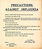 Spanish Flu medical advice poster, USA
