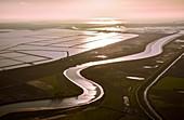 Canal and salt flats, aerial photograph