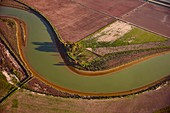 River through farmland, Spain, aerial photograph