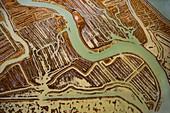 Salt flats on marshland, aerial photograph