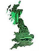 Circuit board Britain, conceptual illustration