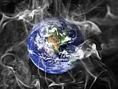 Earth with smoke, conceptual illustration