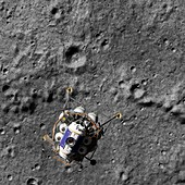 Lunar lander over Moon, illustration