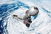 Cruise shuttle docked with space habitat, illustration