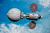 Space habitat in low earth orbit, illustration