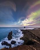 Northern Lights over Eldey Island, Iceland