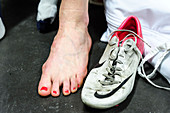 Woman's foot with soccer boot